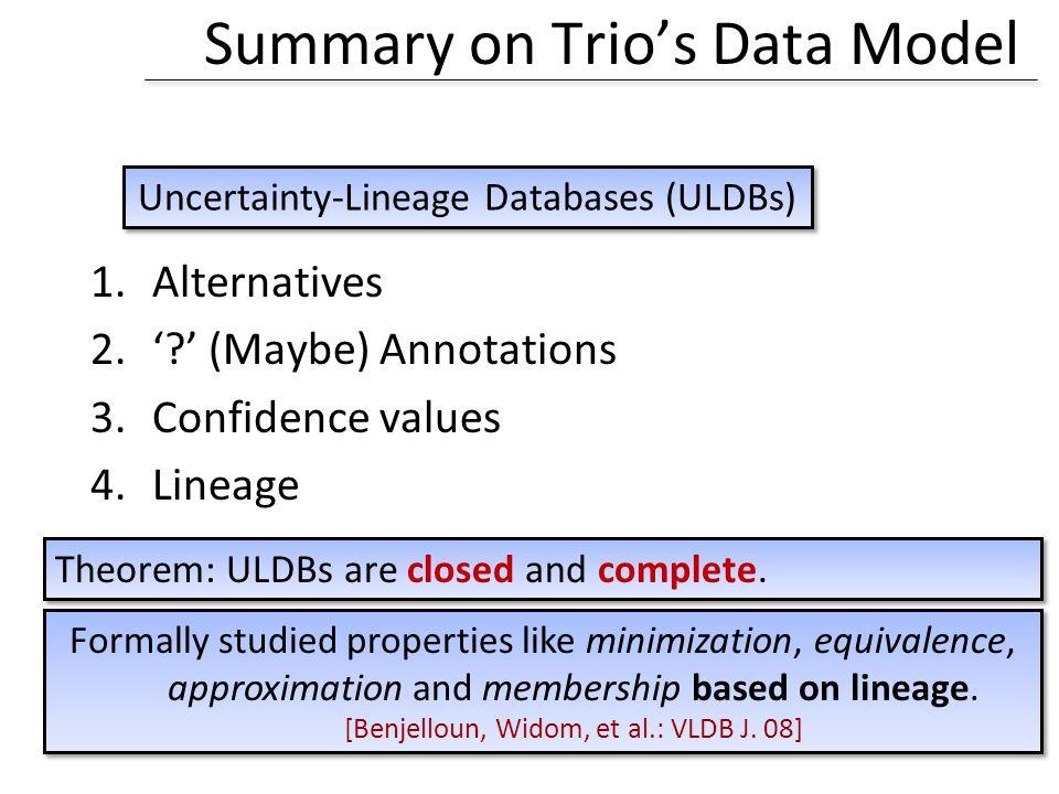 Summary on Trio's Data Model