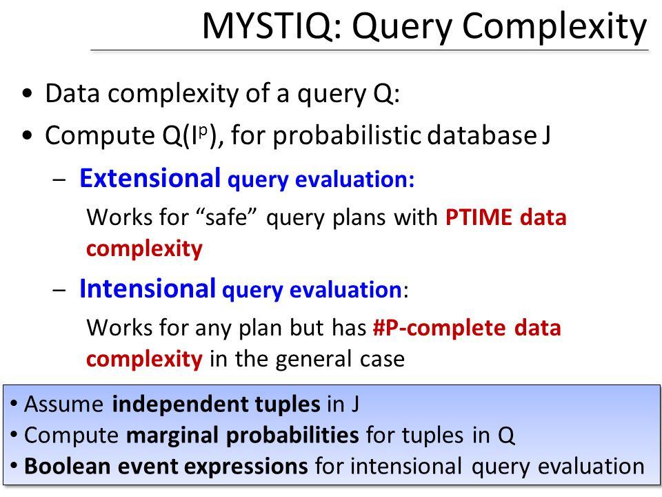 MYSTIQ: Query Complexity