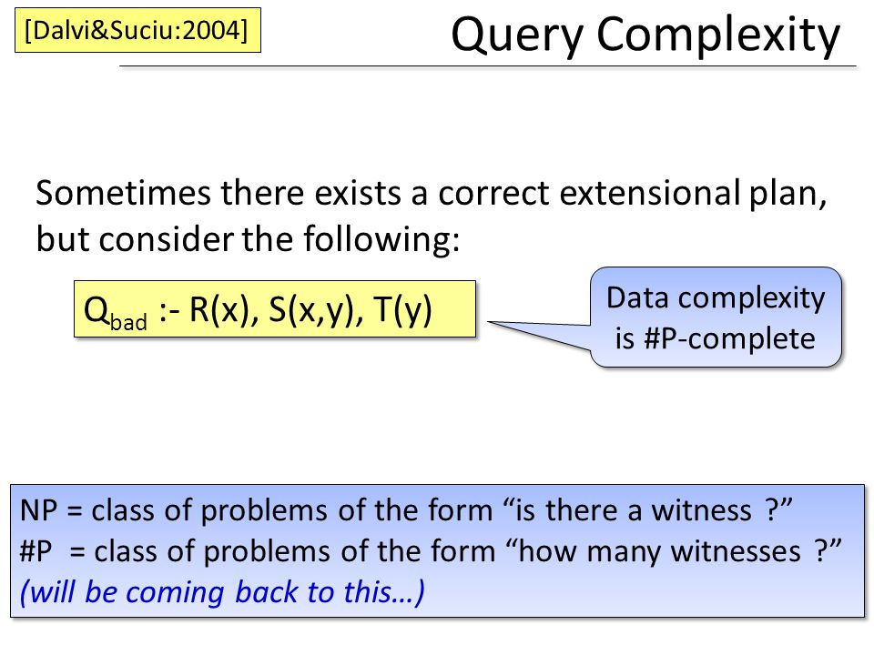 Data complexity is #P-complete