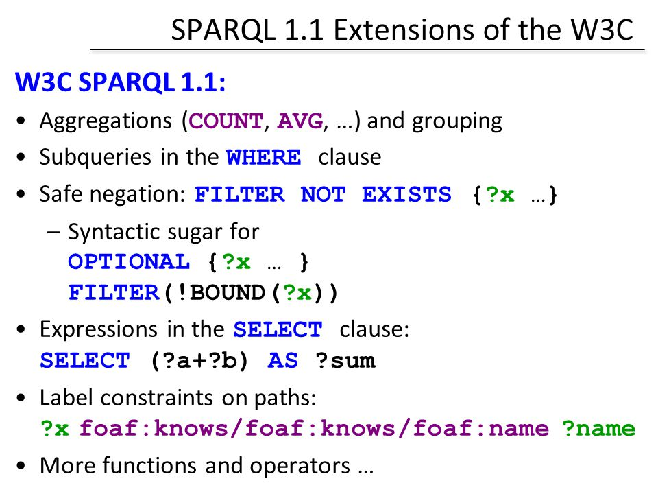 SPARQL 1.1 Extensions of the W3C