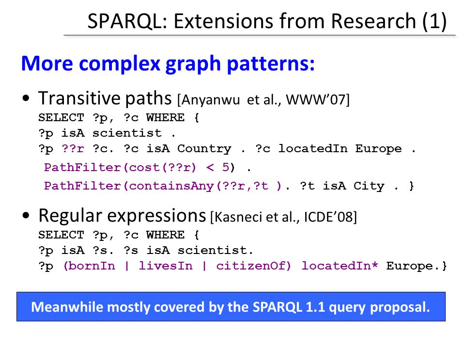 SPARQL: Extensions from Research (1)