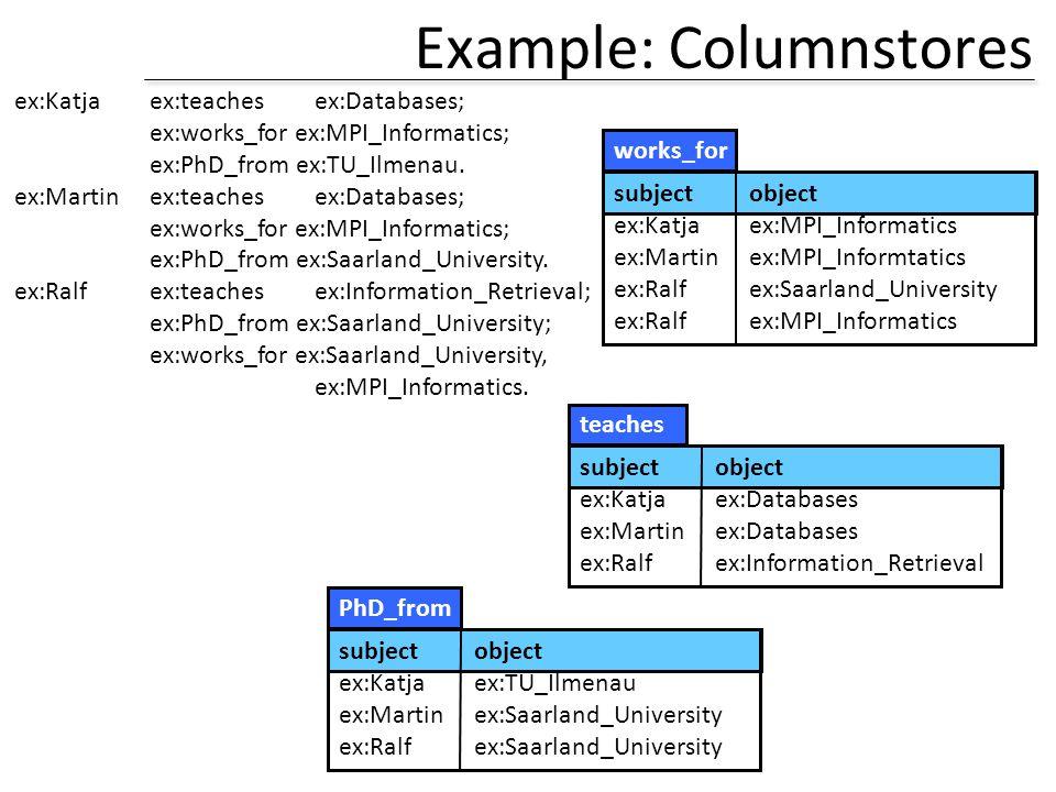 Example: Columnstores