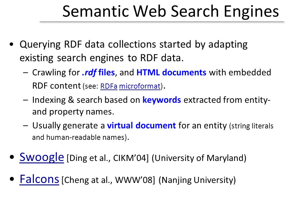 Semantic Web Search Engines