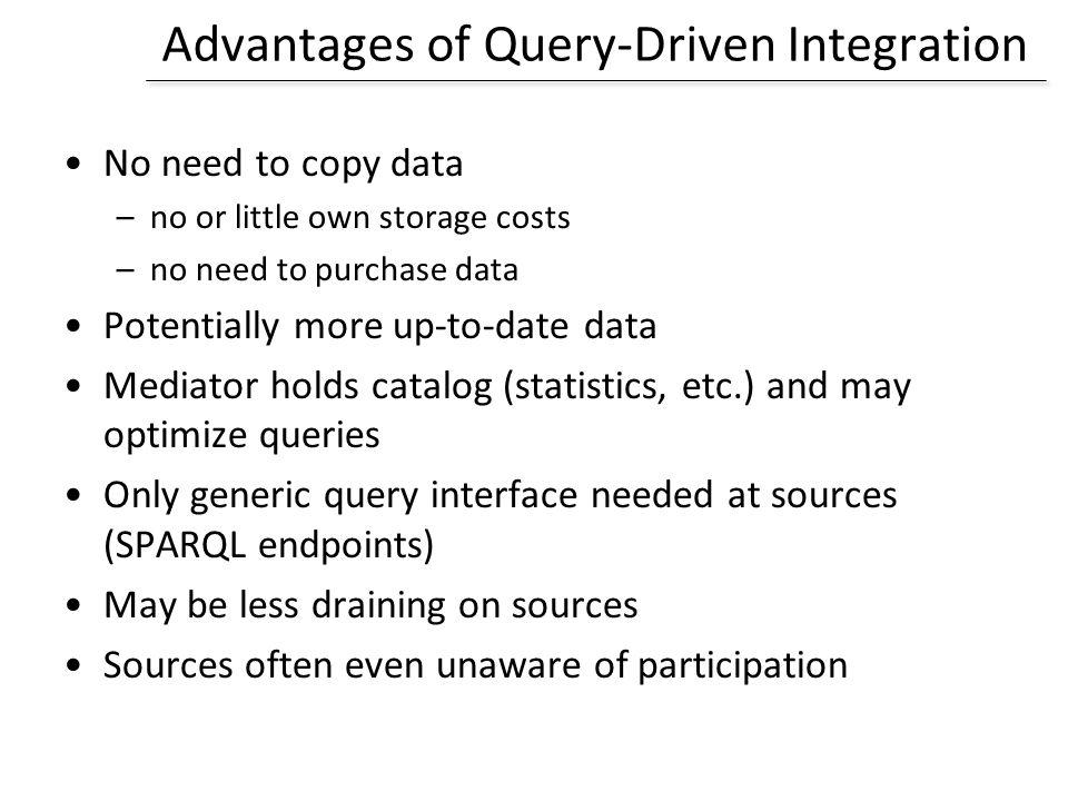 Advantages of Query-Driven Integration
