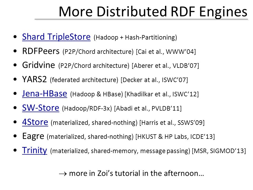 More Distributed RDF Engines