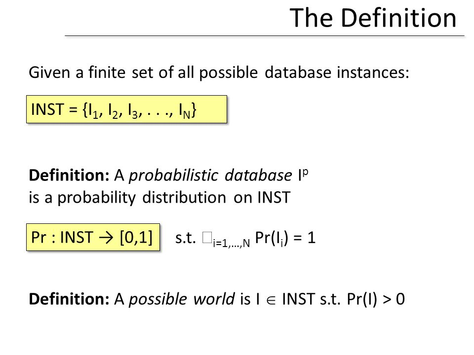 The Definition Given a finite set of all possible database instances: