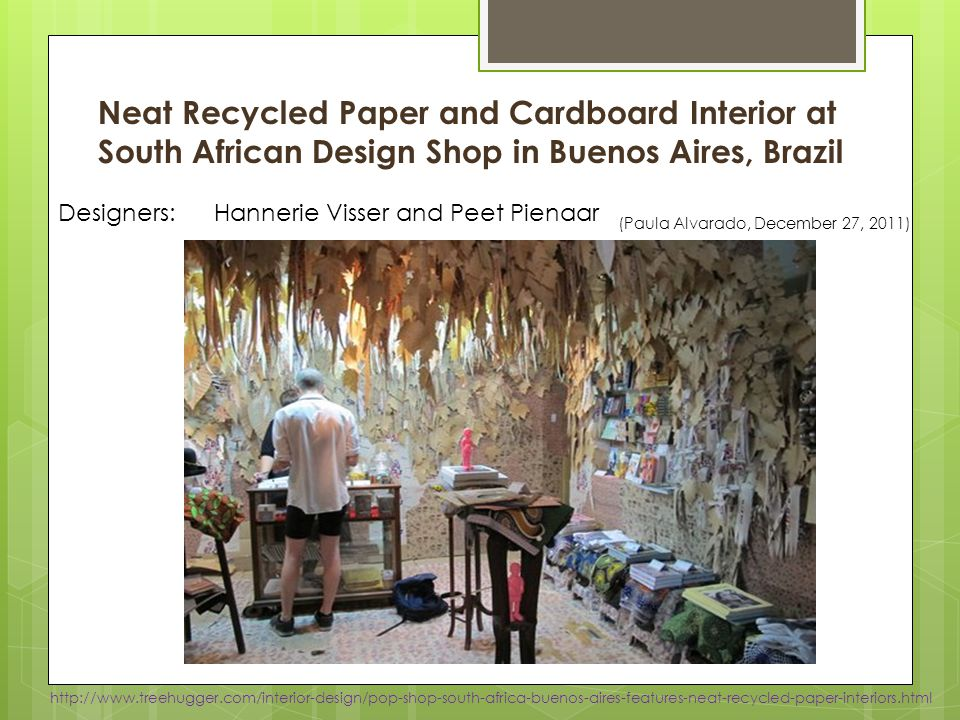 Neat Recycled Paper and Cardboard Interior at South African Design Shop in Buenos Aires, Brazil