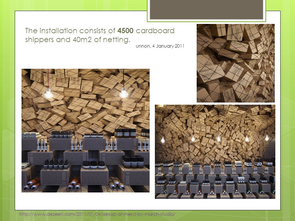 The installation consists of 4500 cardboard shippers and 40m2 of netting.