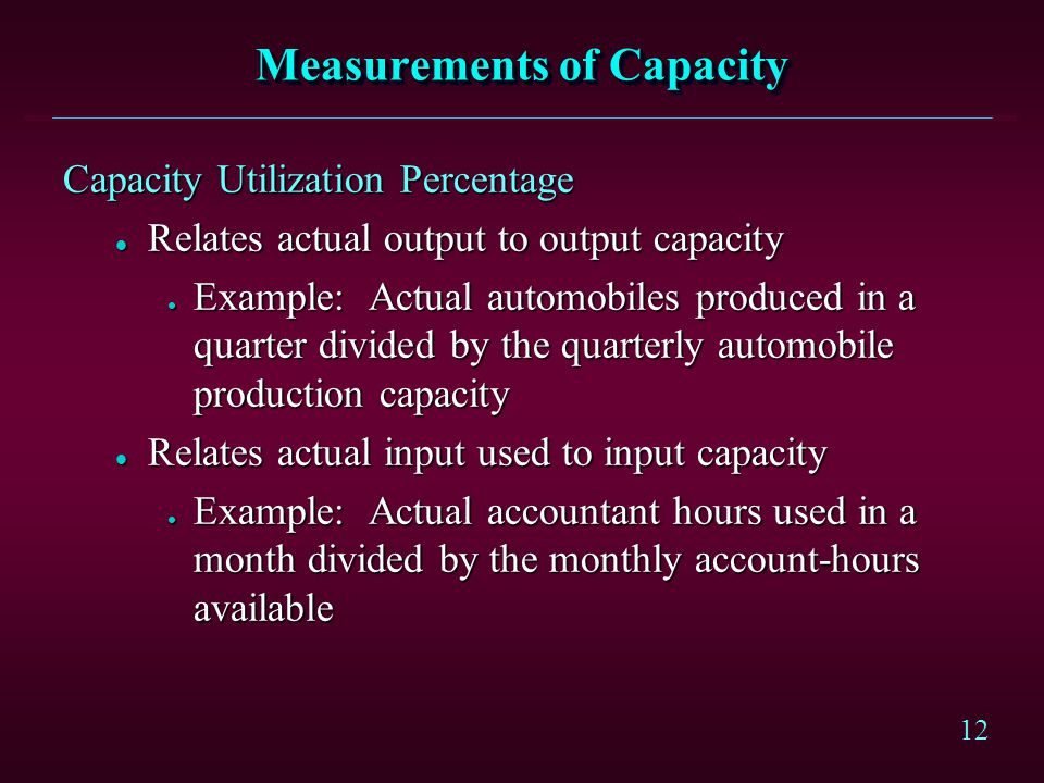 Measurements of Capacity