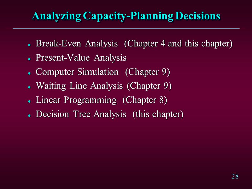 Analyzing Capacity-Planning Decisions
