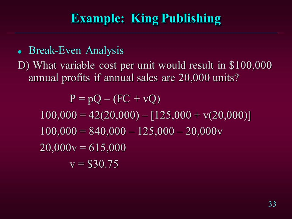 Example: King Publishing