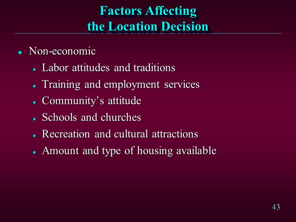 Factors Affecting the Location Decision