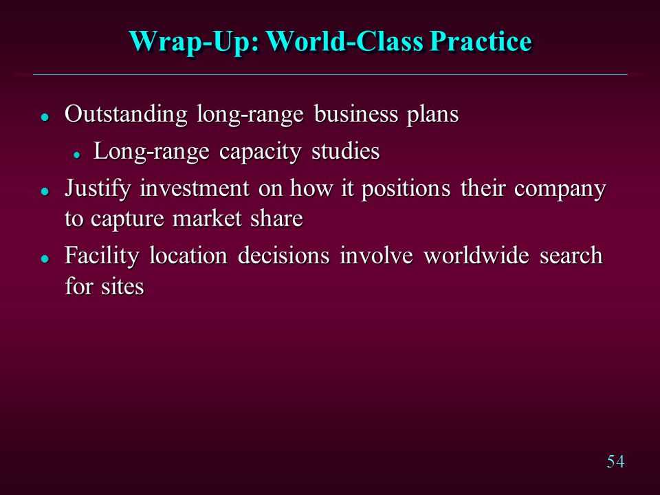 Wrap-Up: World-Class Practice