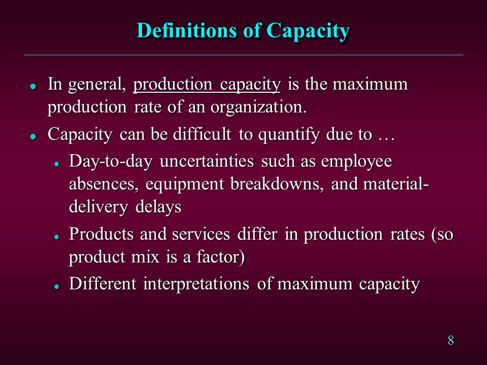 Definitions of Capacity
