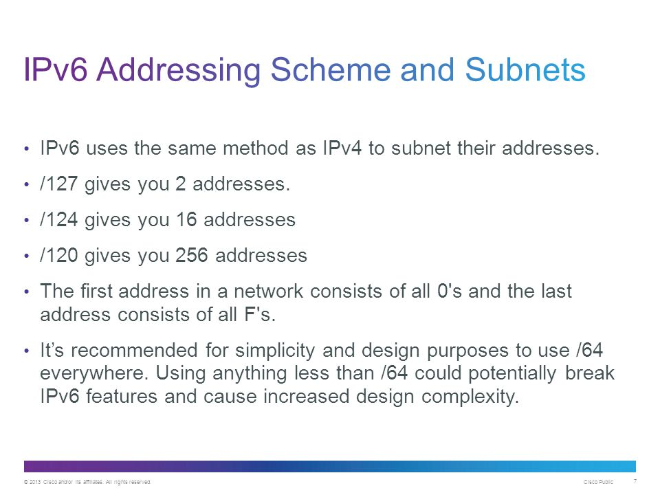 IPv6 Addressing Scheme and Subnets
