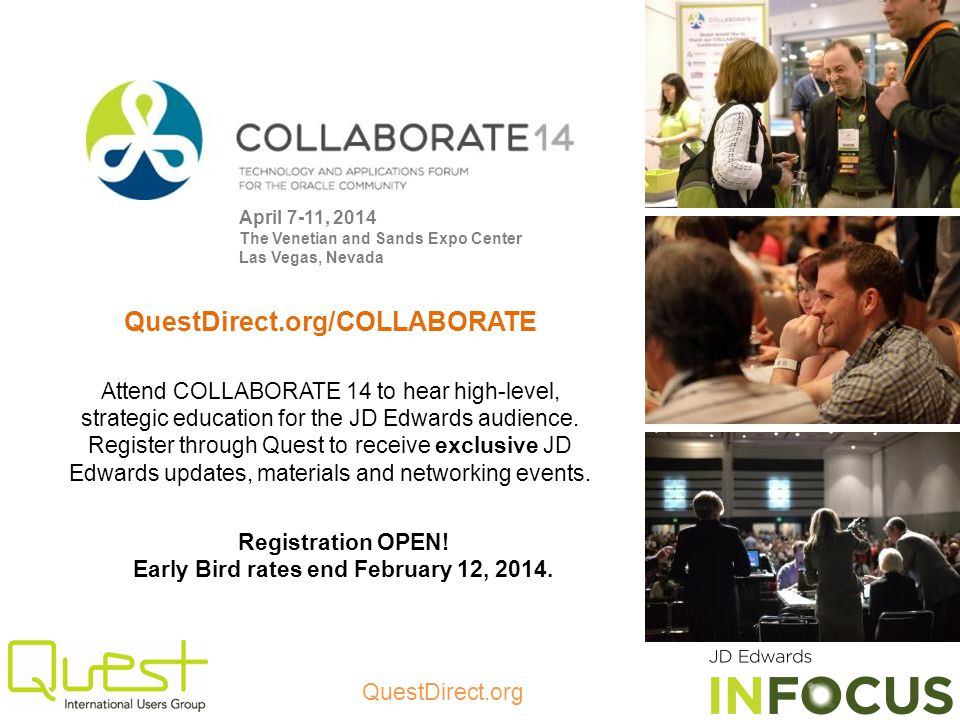 Registration OPEN! Early Bird rates end February 12, 2014.