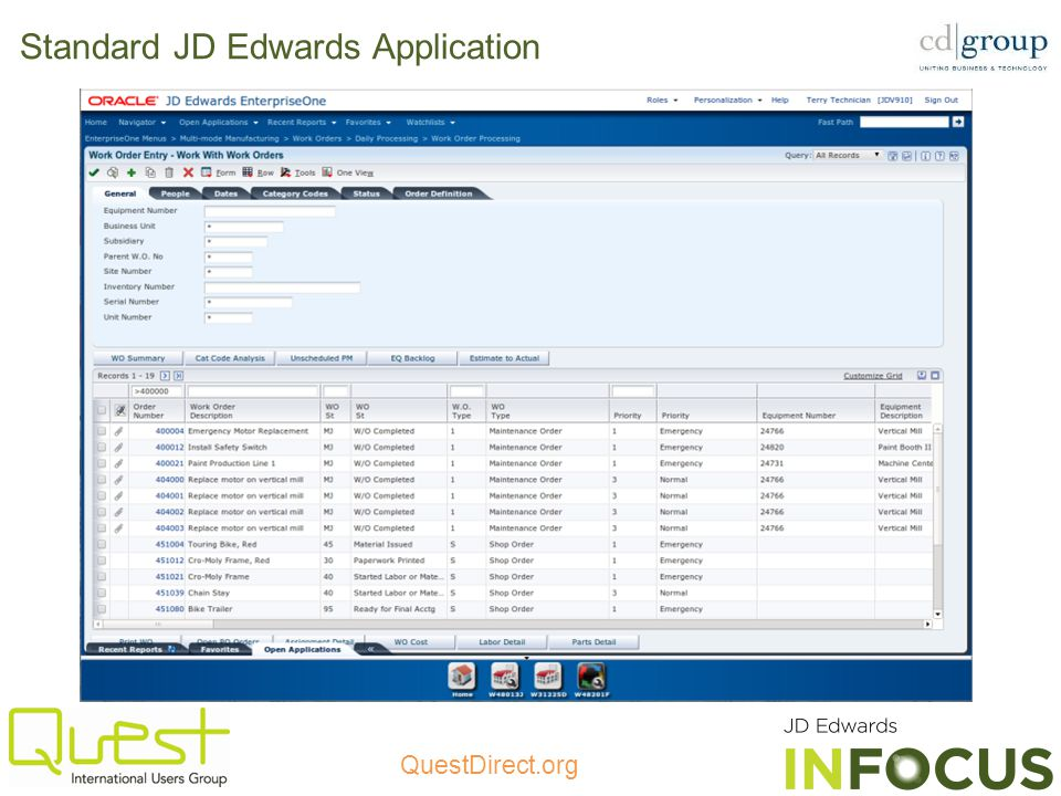 Standard JD Edwards Application