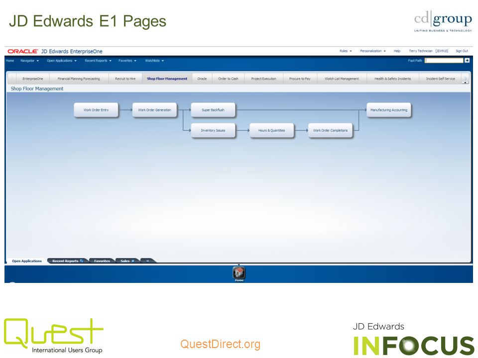 JD Edwards E1 Pages