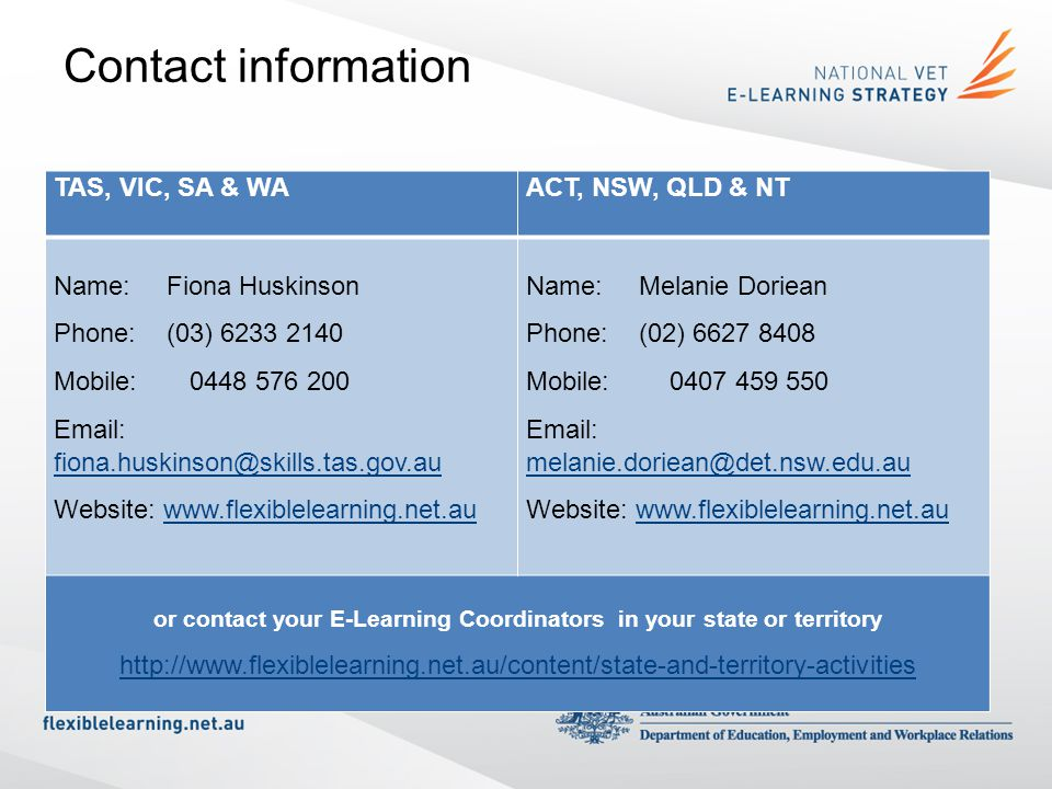 or contact your E-Learning Coordinators in your state or territory