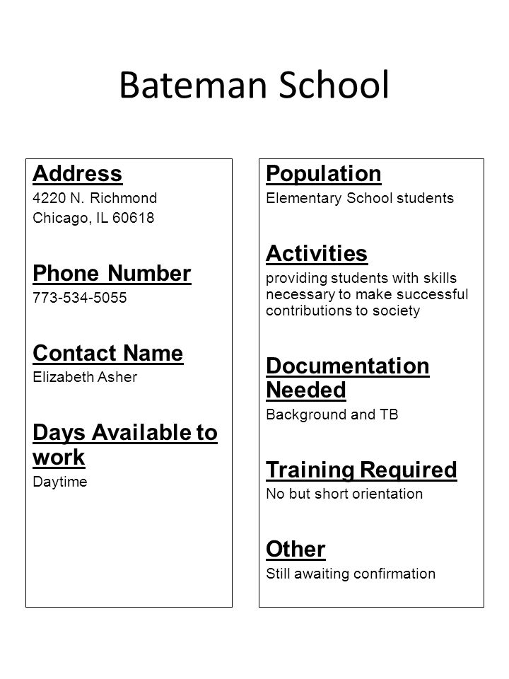 Bateman School Address Phone Number Contact Name
