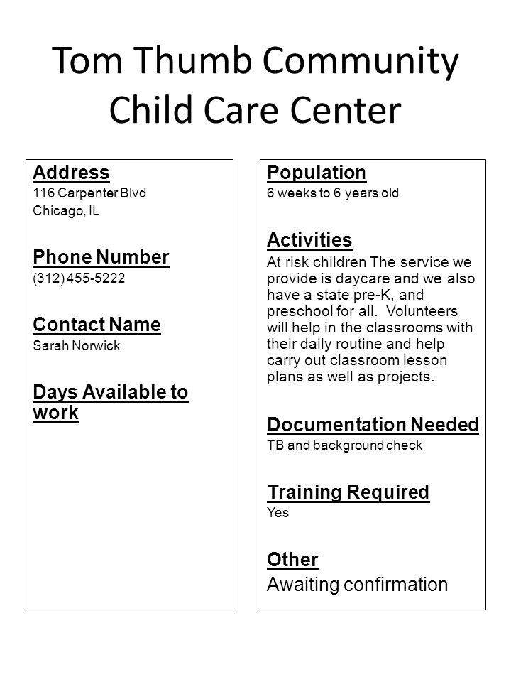 Tom Thumb Community Child Care Center