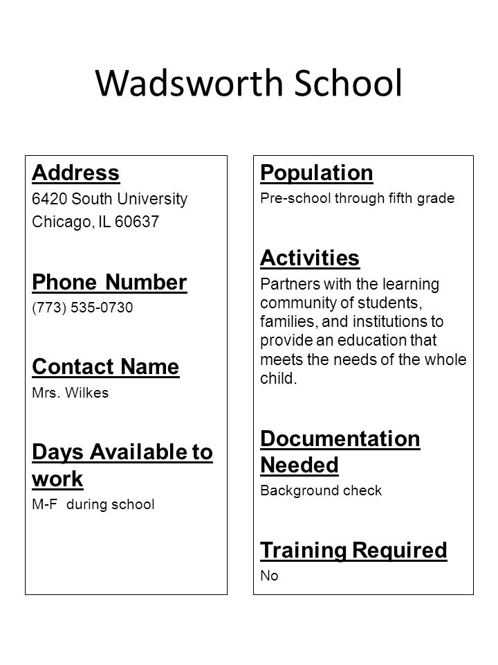 Wadsworth School Address Phone Number Contact Name