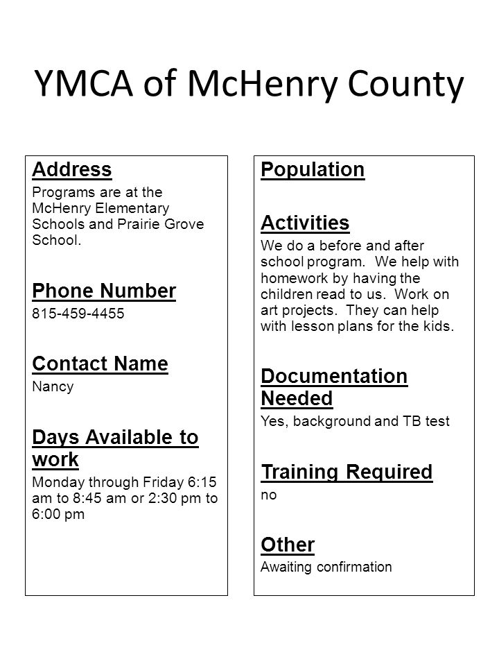 YMCA of McHenry County Address Phone Number Contact Name