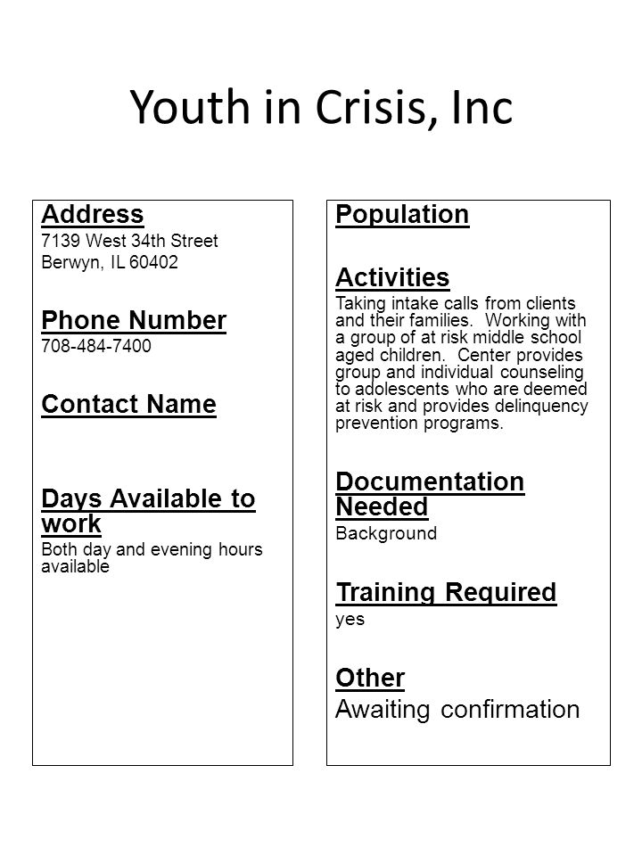 Youth in Crisis, Inc Address Phone Number Contact Name
