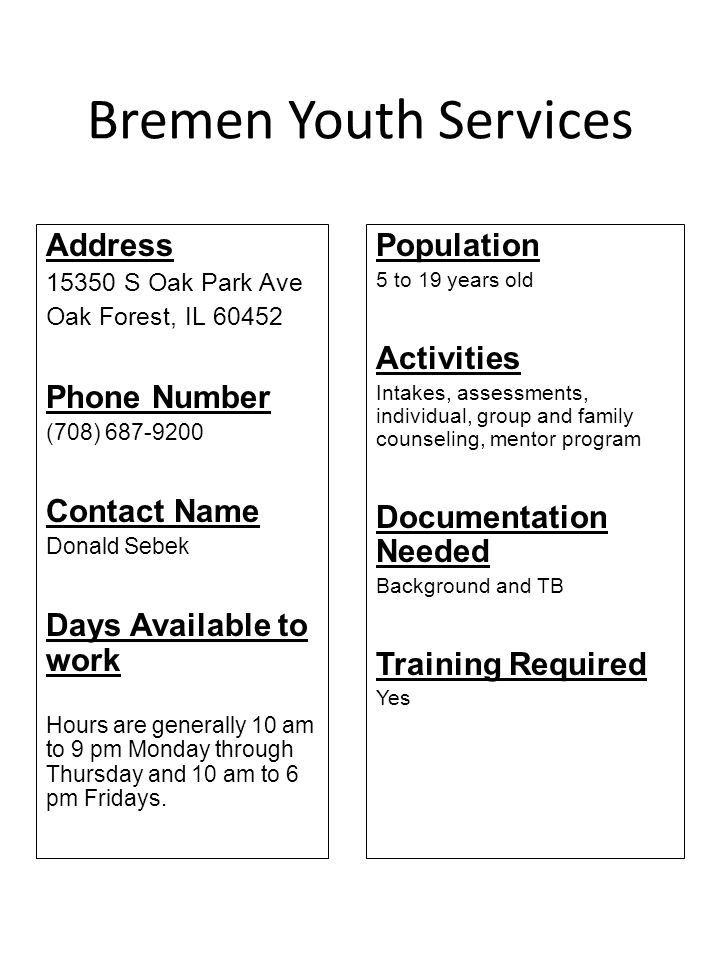 Bremen Youth Services Address Phone Number Contact Name