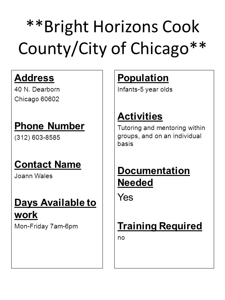 **Bright Horizons Cook County/City of Chicago**
