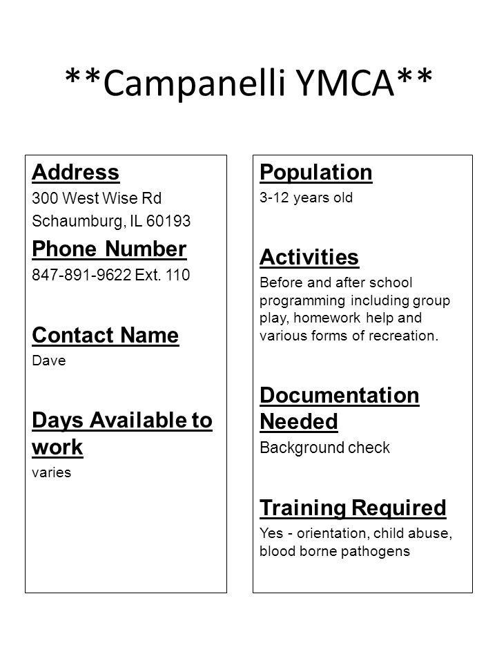 **Campanelli YMCA** Address Phone Number Contact Name