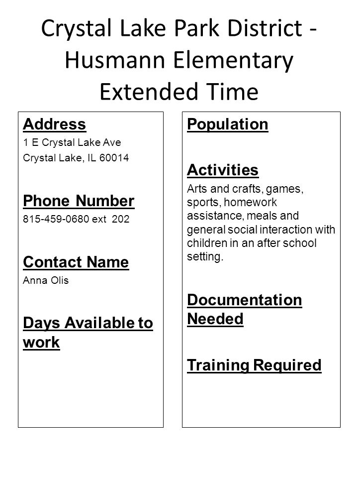 Crystal Lake Park District - Husmann Elementary Extended Time