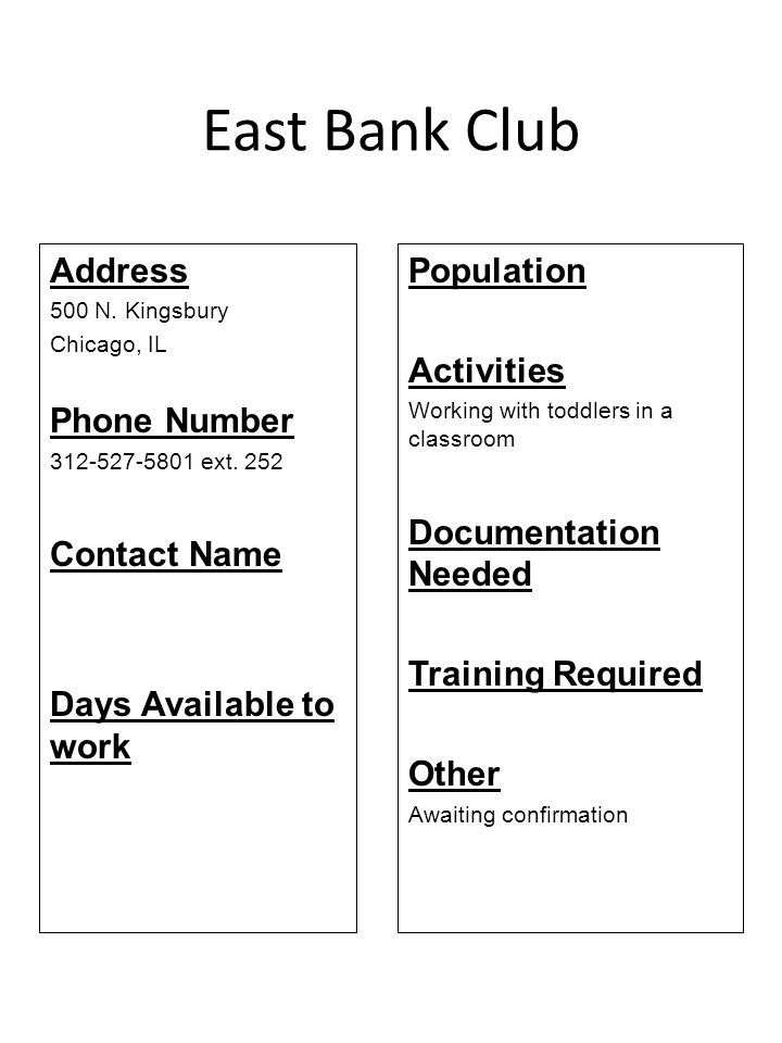 East Bank Club Address Phone Number Contact Name