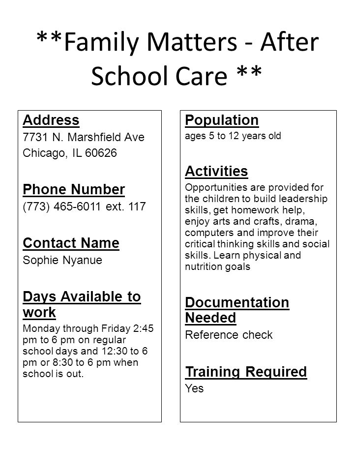 **Family Matters - After School Care **