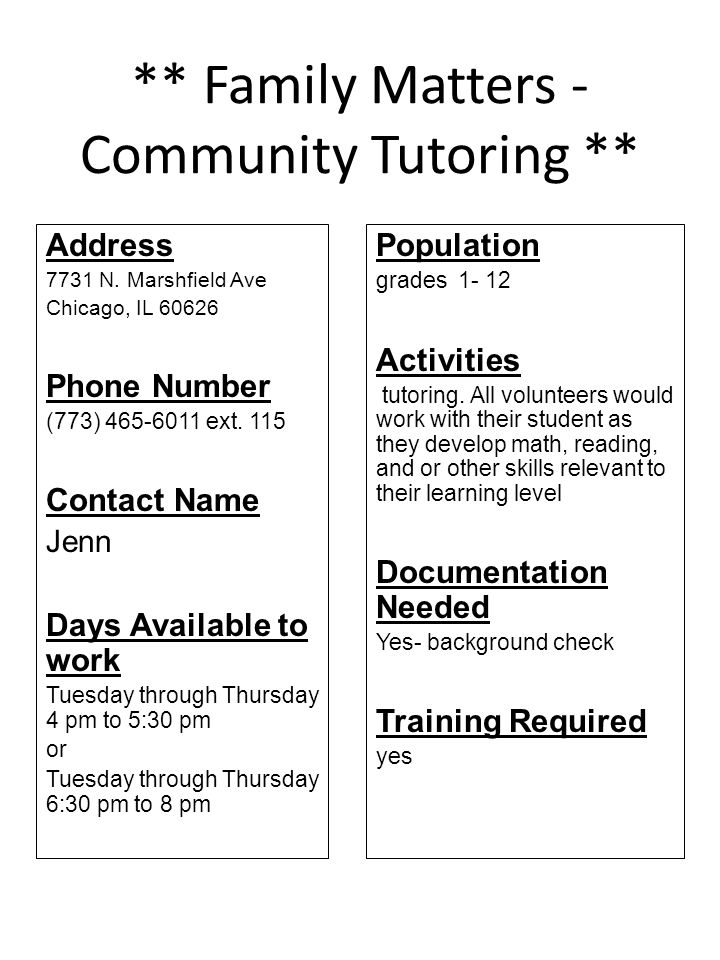 ** Family Matters - Community Tutoring **