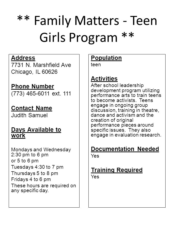 ** Family Matters - Teen Girls Program **