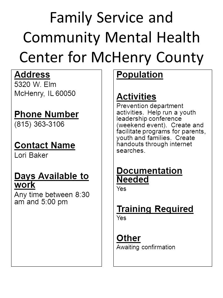 Family Service and Community Mental Health Center for McHenry County