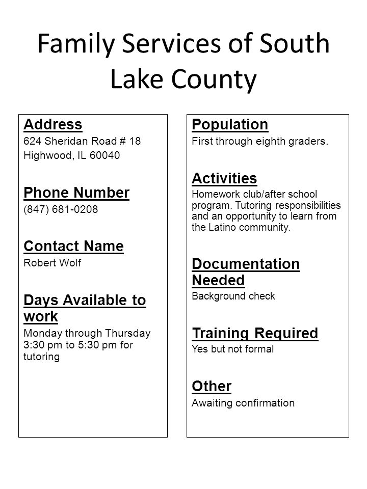 Family Services of South Lake County