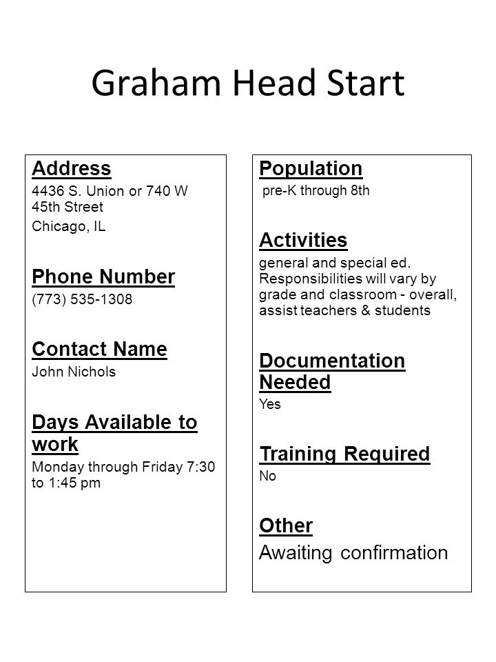 Graham Head Start Address Phone Number Contact Name