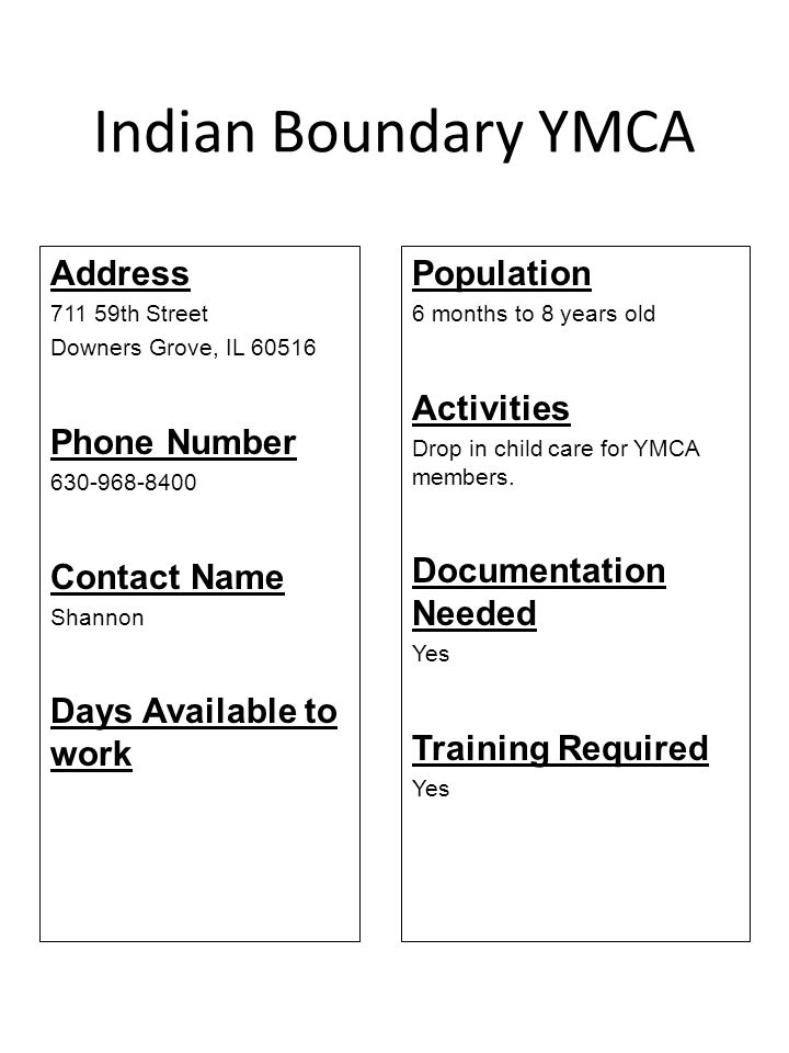 Indian Boundary YMCA Address Phone Number Contact Name