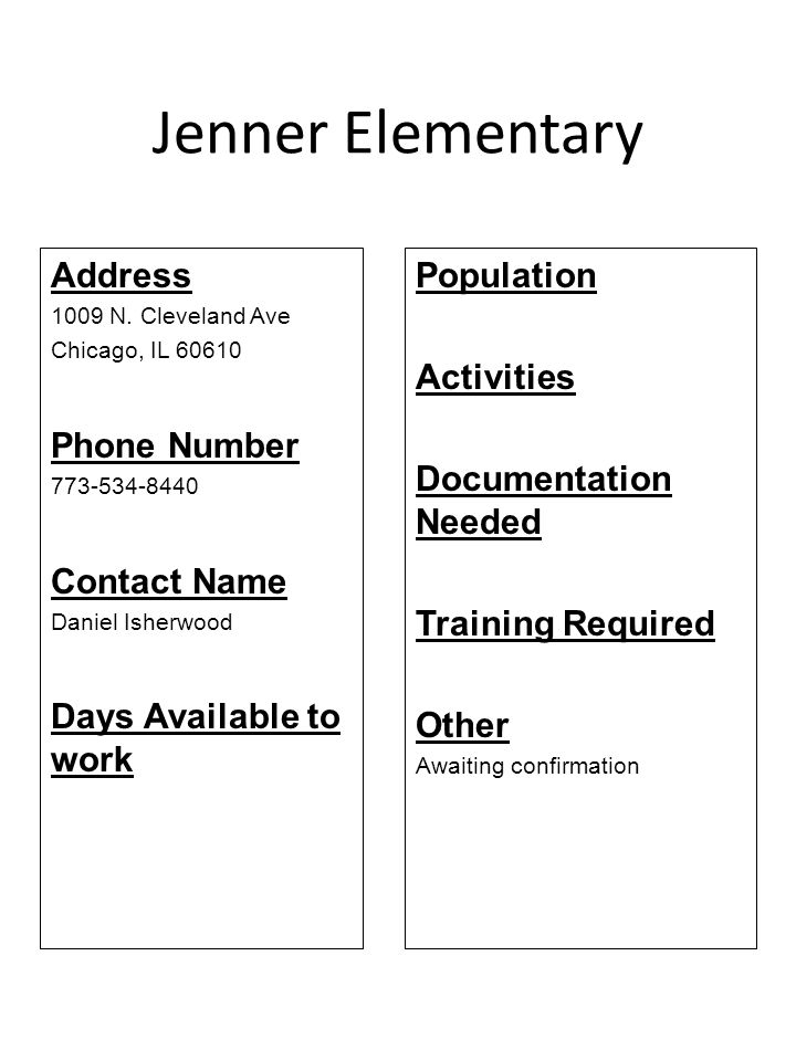 Jenner Elementary Address Phone Number Contact Name
