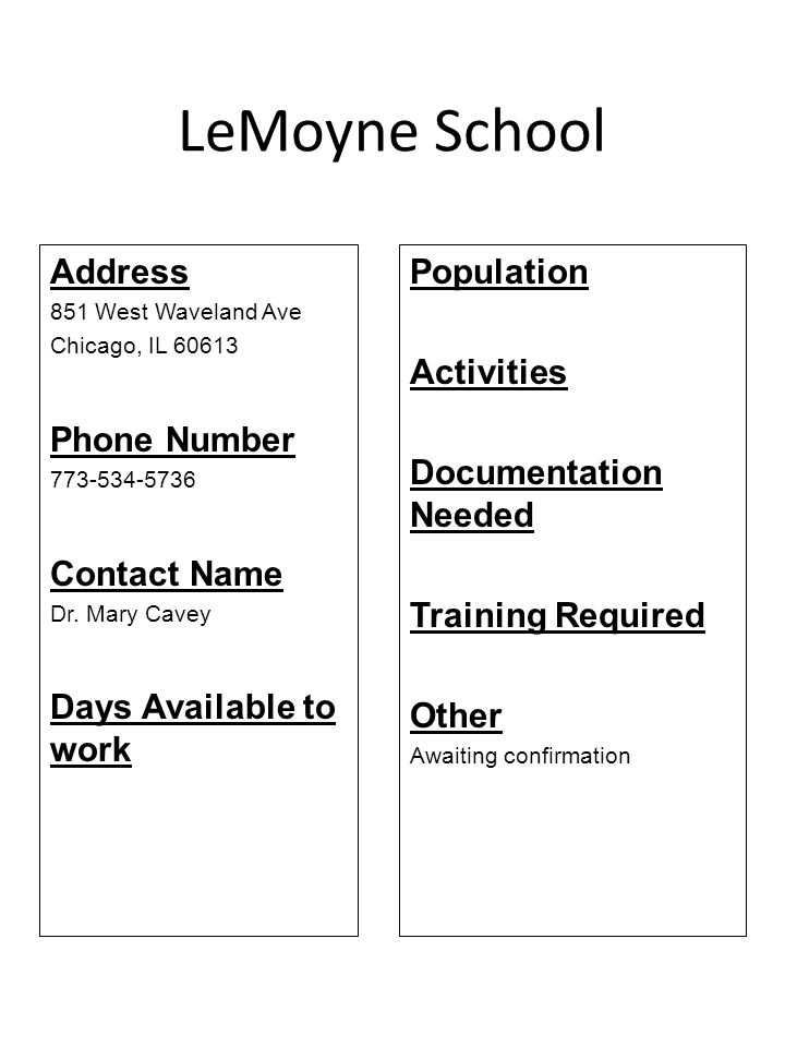 LeMoyne School Address Phone Number Contact Name