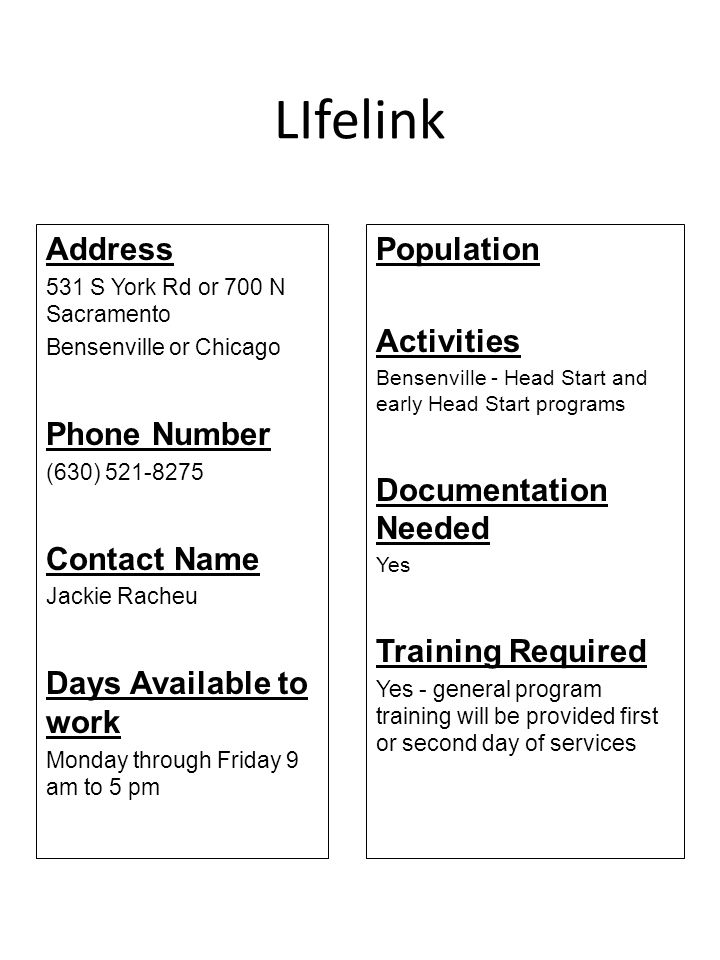 LIfelink Address Phone Number Contact Name Days Available to work