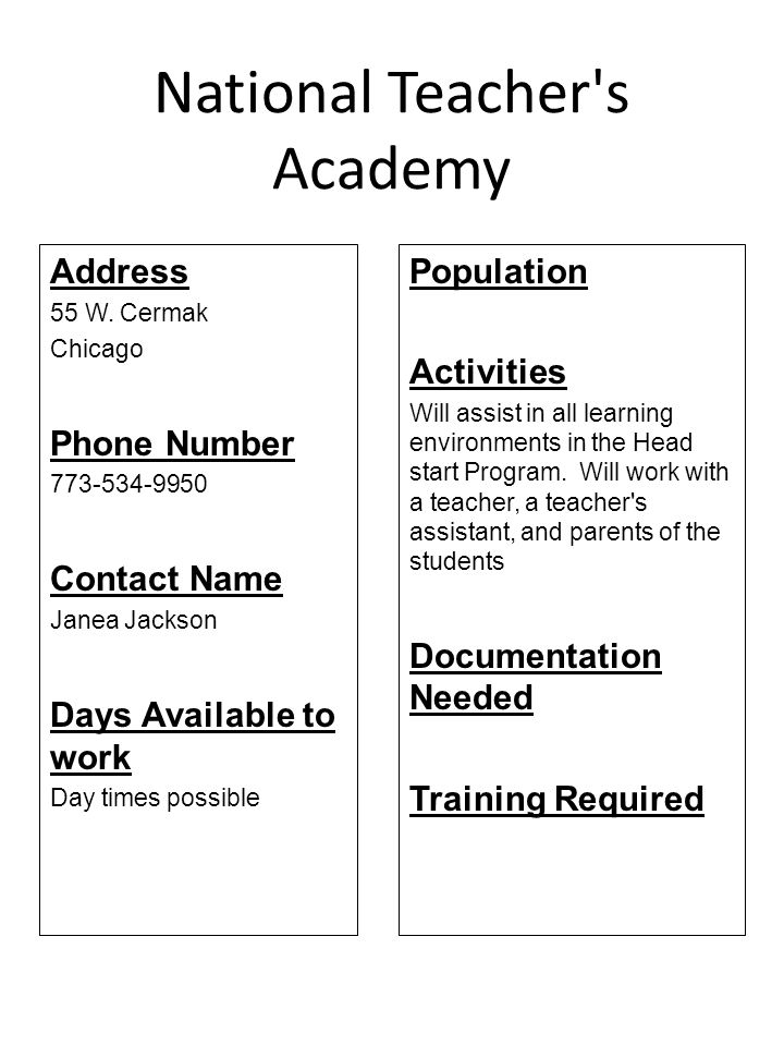 National Teacher s Academy