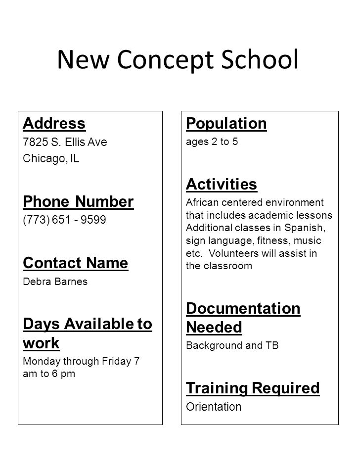 New Concept School Address Phone Number Contact Name