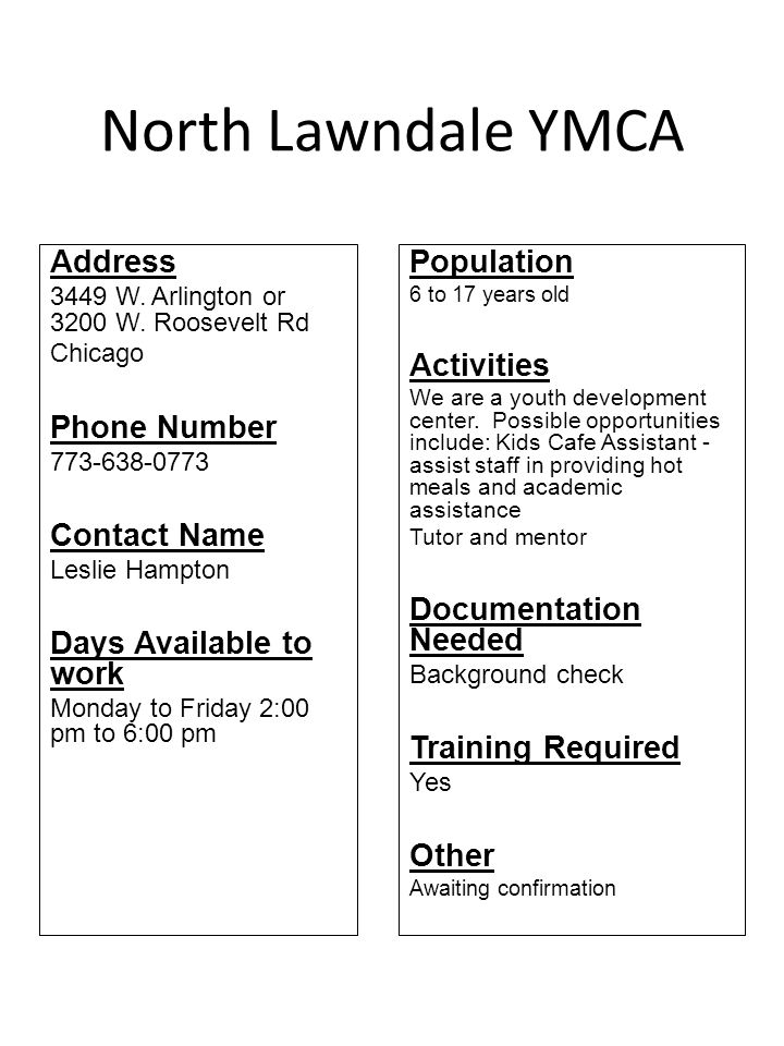 North Lawndale YMCA Address Phone Number Contact Name