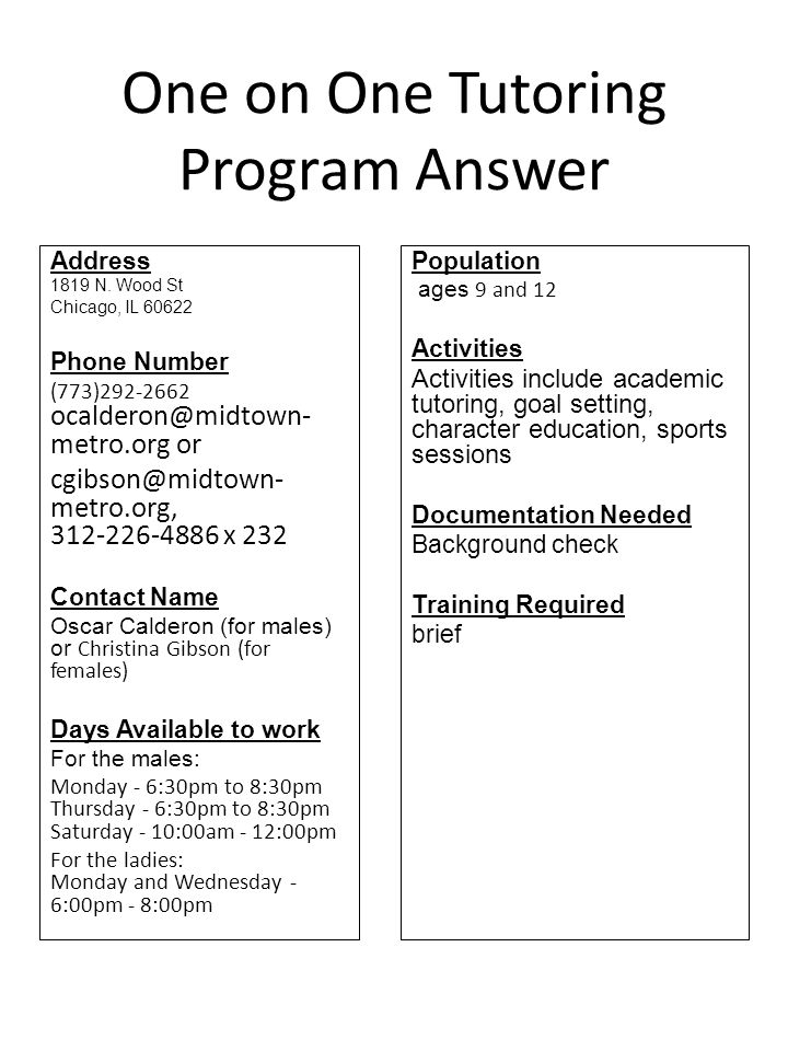 One on One Tutoring Program Answer