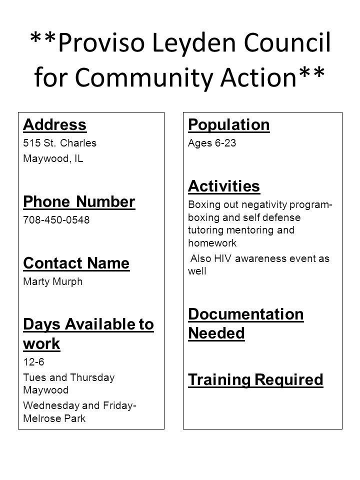 **Proviso Leyden Council for Community Action**