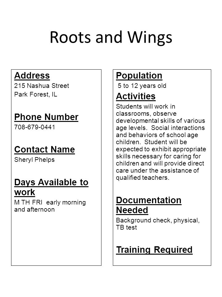 Roots and Wings Address Phone Number Contact Name