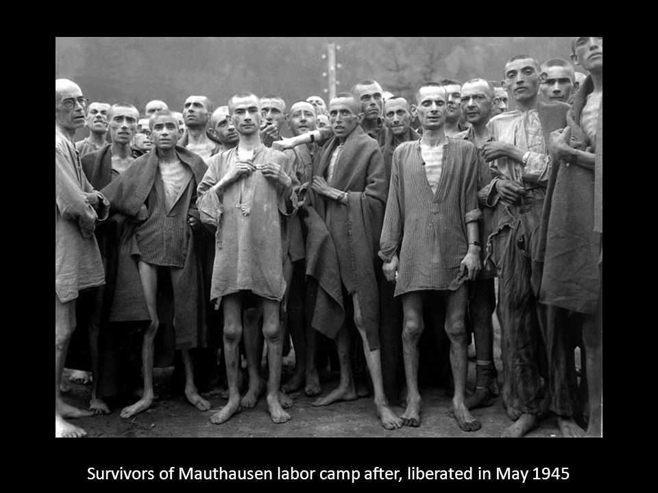 Survivors of Mauthausen labor camp after, liberated in May 1945